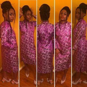 Purple & Silver Iridescent Asian Kimono Dress